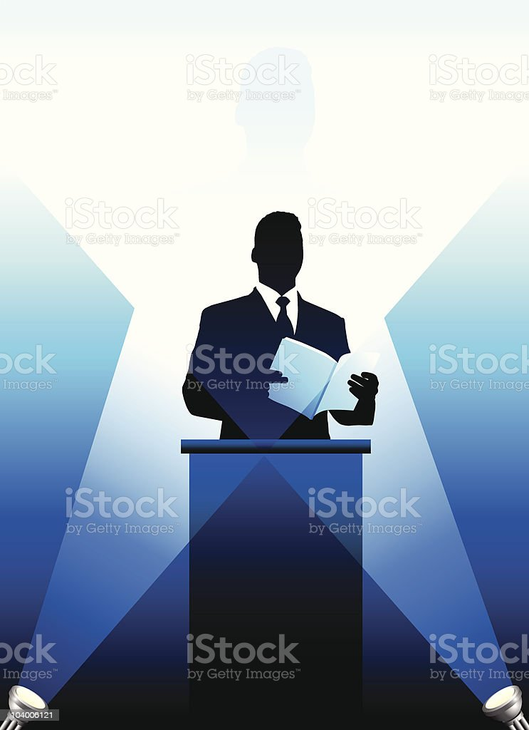 Business/political speaker silhouette background royalty-free stock vector art