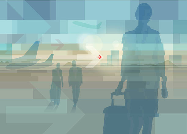 businesstrip EPS 10 Vector illustration about traveling businesspeople on airport, with some arrow shapes. Used transparencies, opacityes, blends and simple gradients. Easy to edit. RGB color mode. (include AI-CS3, EPS10, JPEG 2800x1996px) airport patterns stock illustrations