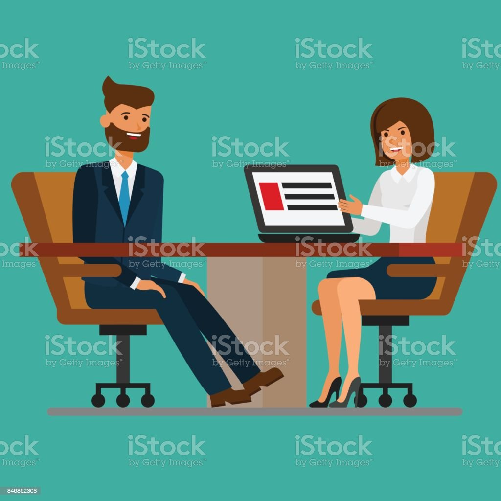 Businesswoman addressing meeting to businessman at boardroom table. Vector flat illustration vector art illustration