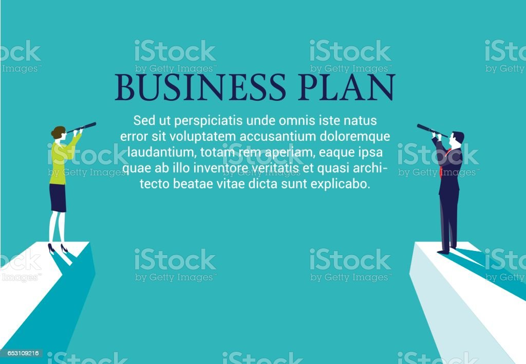 Businesswoman and businessman looking for a new business plan vector art illustration