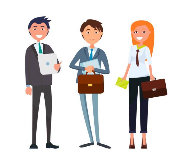 ilustrações de stock, clip art, desenhos animados e ícones de businesswoman and businessman with business papers - senior business woman tablet