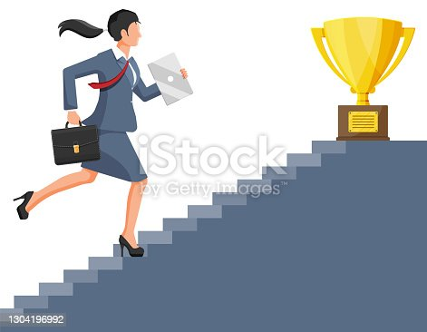 istock Businesswoman and gold trophy on ladder of success 1304196992