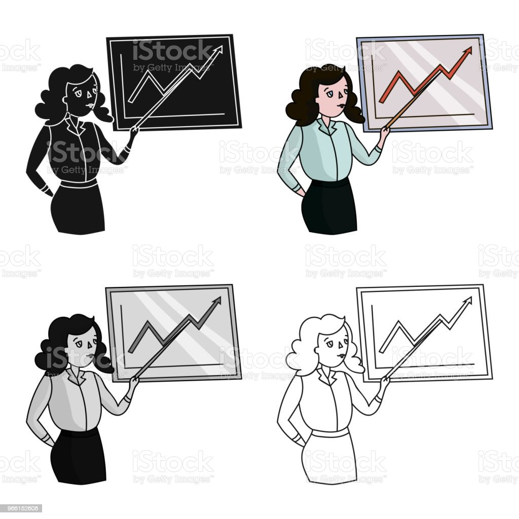 Zakenvrouw en groeiende grafische pictogram in cartoon stijl geïsoleerd op een witte achtergrond. Conferentie en negetiations symbool voorraad vectorillustratie web. - Royalty-free Advies vectorkunst