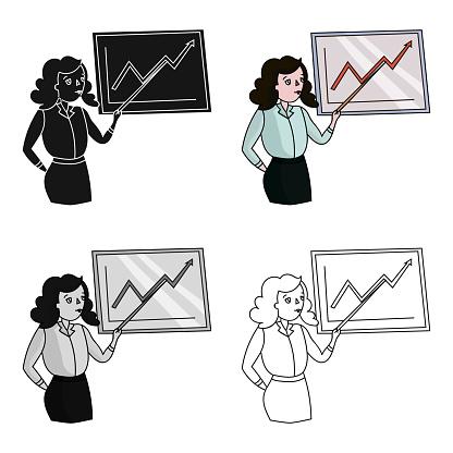Zakenvrouw En Groeiende Grafische Pictogram In Cartoon Stijl Geïsoleerd Op Een Witte Achtergrond Conferentie En Negetiations Symbool Voorraad Vectorillustratie Web Stockvectorkunst en meer beelden van Advies