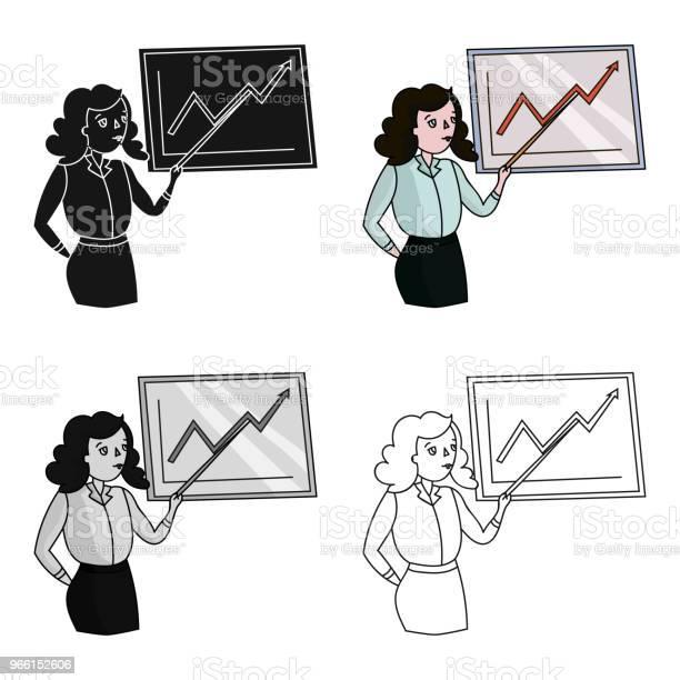 Affärskvinna Och Växande Grafiska Symbolen I Tecknad Stil Isolerad På Vit Bakgrund Konferens Och Negetiations Symbol Lager Vektor Web Illustration-vektorgrafik och fler bilder på Affärskvinna