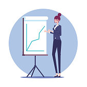 Female office worker character  standing near the board for presentation which shows the growing graph. The businesswoman shows thumbs up rejoicing at the growth of sales vector flat illustration.