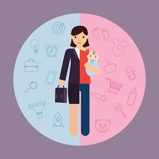 illustrations, cliparts, dessins animés et icônes de femme d'affaires et de mère, la carrière de leur activité et de leur maternité divisé - femmes actives