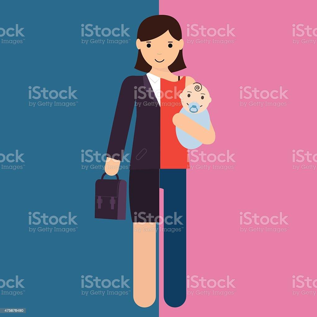 Femme d'affaires et de mère, la carrière de leur activité et de leur maternité divisé - Illustration vectorielle