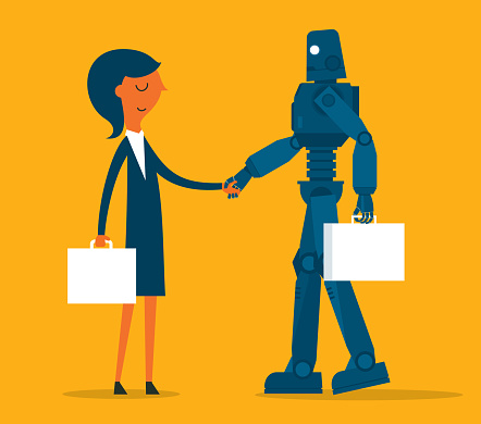 Businesswoman and robot shaking hands