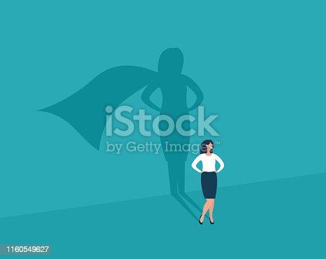 istock Businesswoman and shadow superhero. 1160549627
