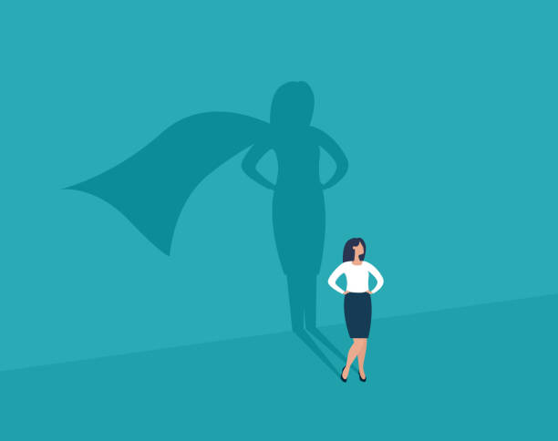 Businesswoman and shadow superhero. Businesswoman and shadow superhero. Ambition and success vector concept. Vector illustration. EPS10. confidence stock illustrations