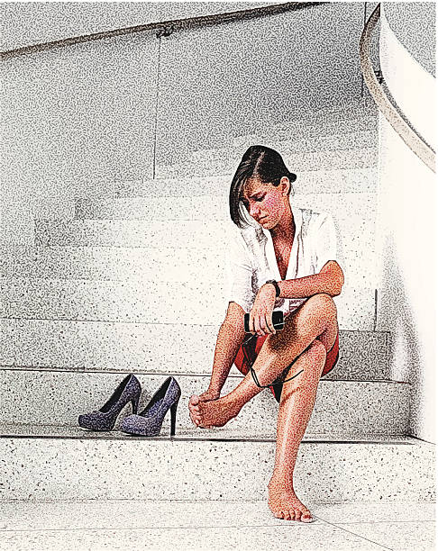 businesswoman and sore feet - business casual fashion stock illustrations