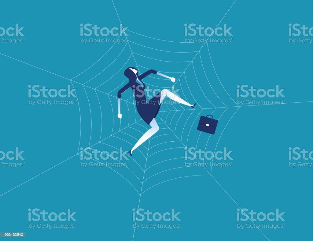 Bizneswoman i pajęczyna. Koncept charakter biznesowy ilustracji wektorowej. Płaski styl projektowania. - Grafika wektorowa royalty-free (Kobiety)