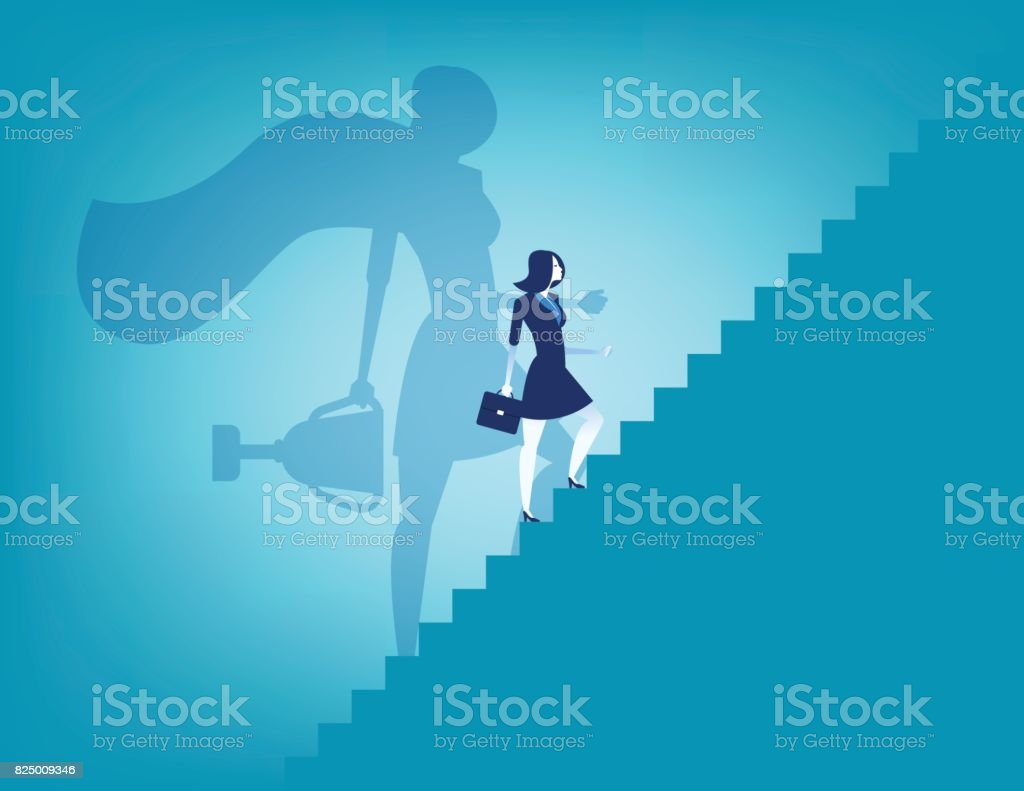 Businesswoman and stairway to success. Concept business vector illustration.