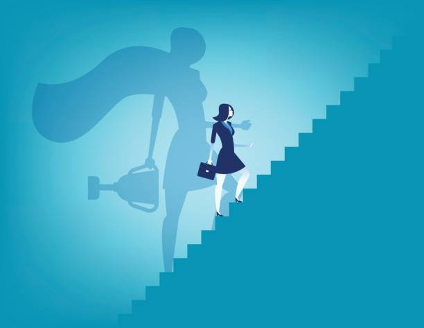 businesswoman and stairway to success. concept business vector illustration. - leadership stock illustrations