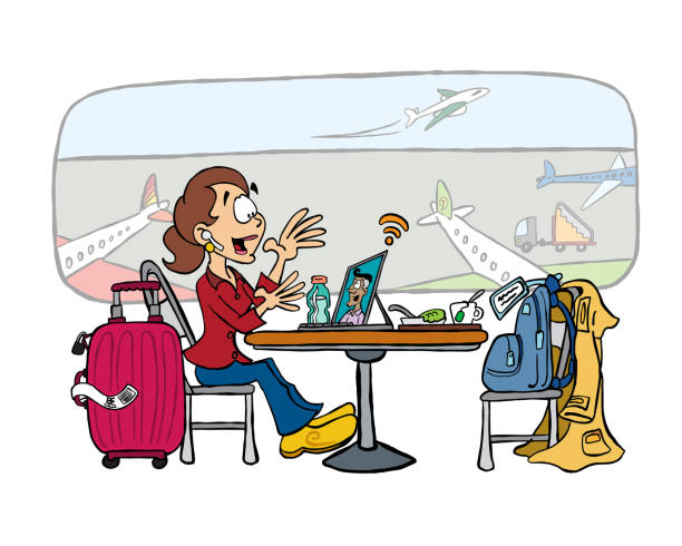 businesswoman at airport lounge in a video call - video call stock illustrations