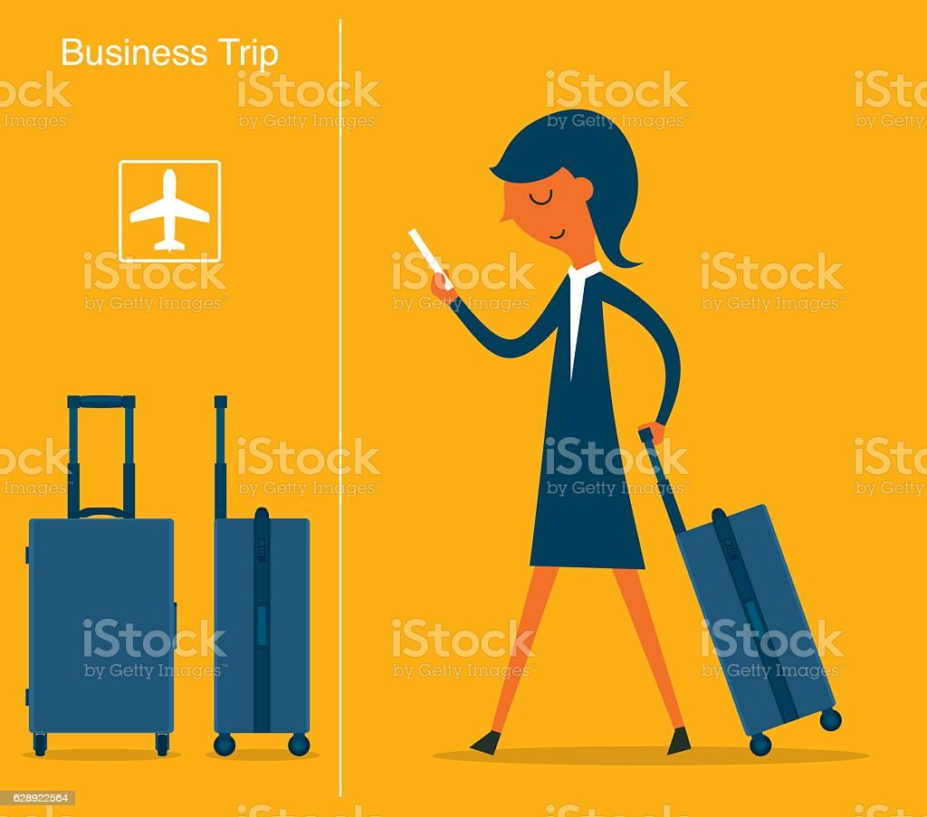 Businesswoman at the Airport vector art illustration