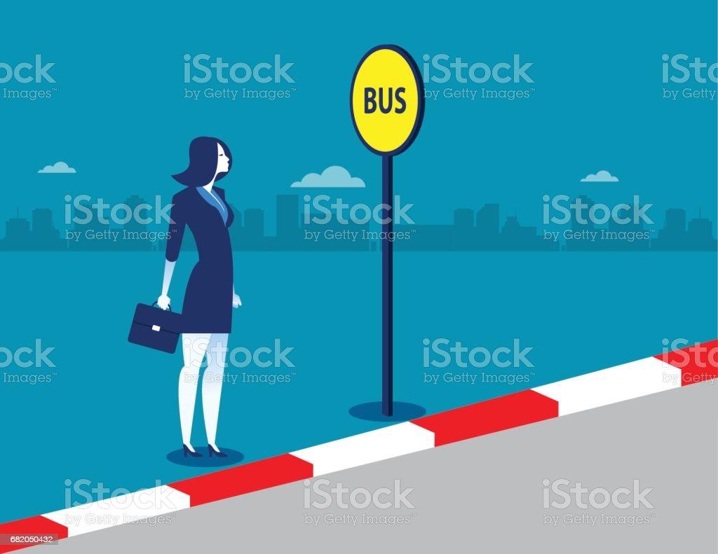 Businesswoman at the bus stop. Concept business illustration. Vector transportation. - Illustration vectorielle