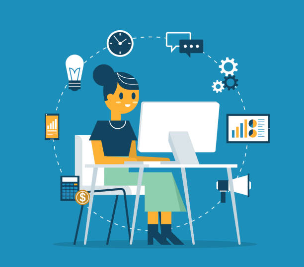 Businesswoman at the desk vector art illustration