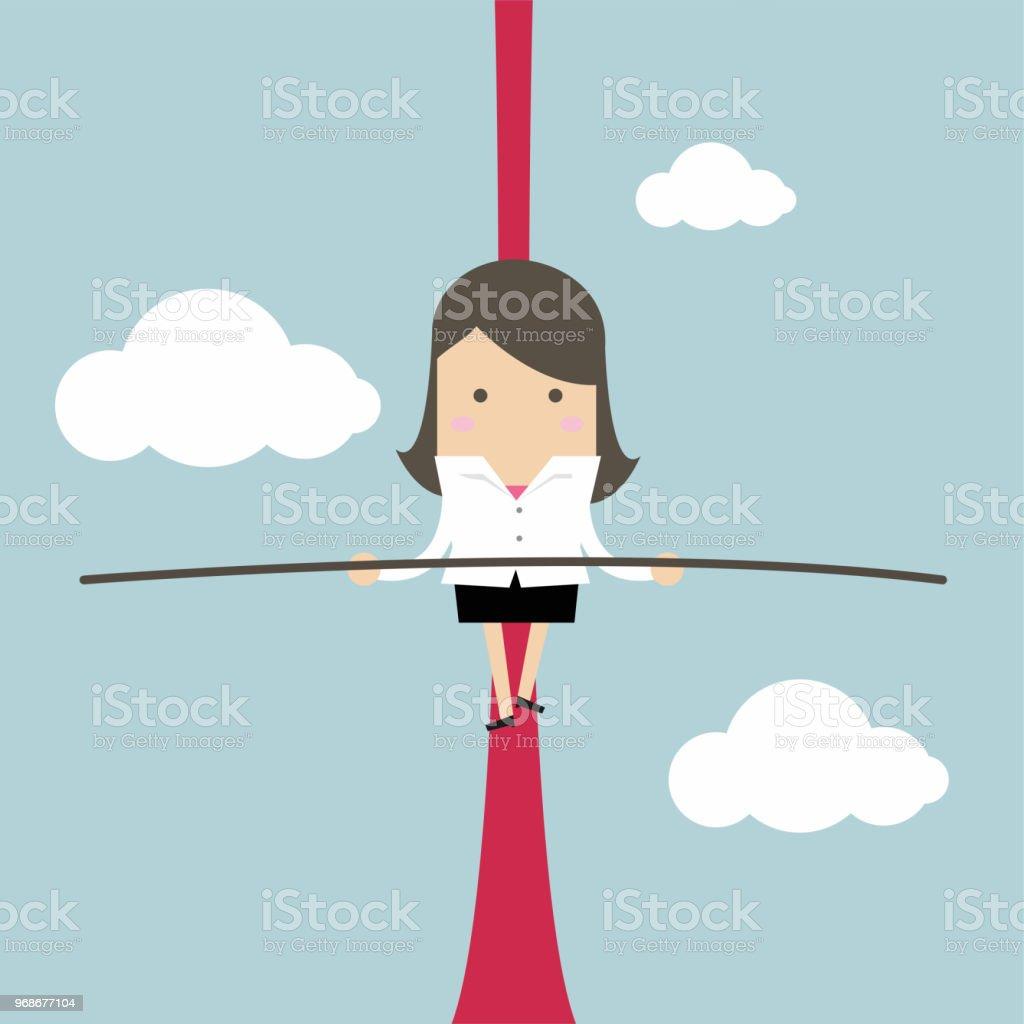 在空中的繩索平衡的商人。向量藝術插圖