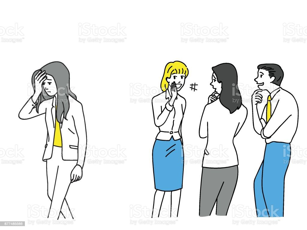 Businesswoman being bullying office workers vector art illustration