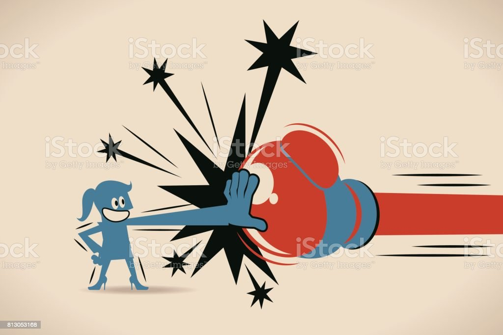 Businesswoman (woman, girl) Block Jabs & Straight Punches (Big Boxing Glove) vector art illustration