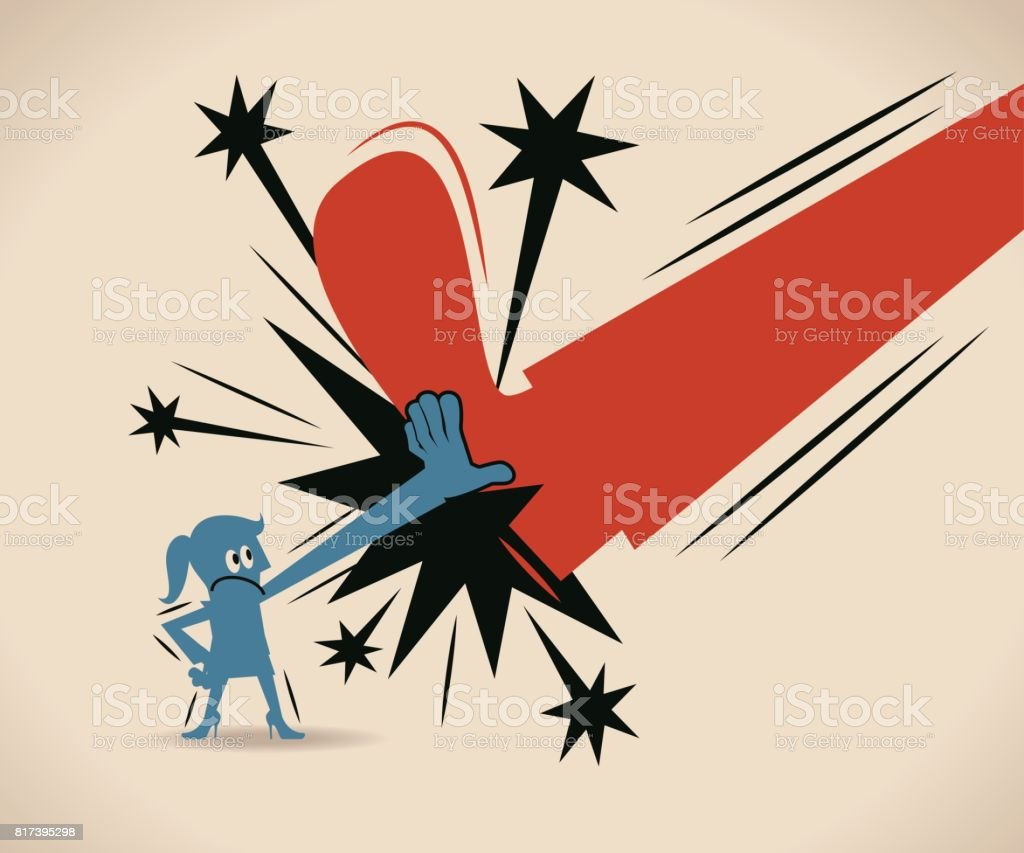 Businesswoman (woman, girl) blocking a kick (big shoe) with one hand, Woman power concept vector art illustration