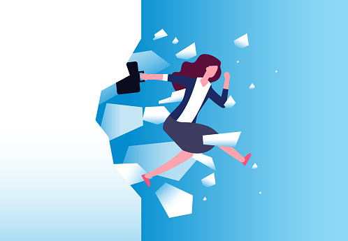 Businesswoman breaking wall. Strong woman jamps through barrier. Free people, action and overcome vector concept