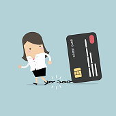 Businesswoman breaks free from the chain to bank credit card. vector