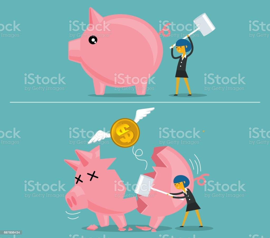 Businesswoman broken piggy bank vector art illustration