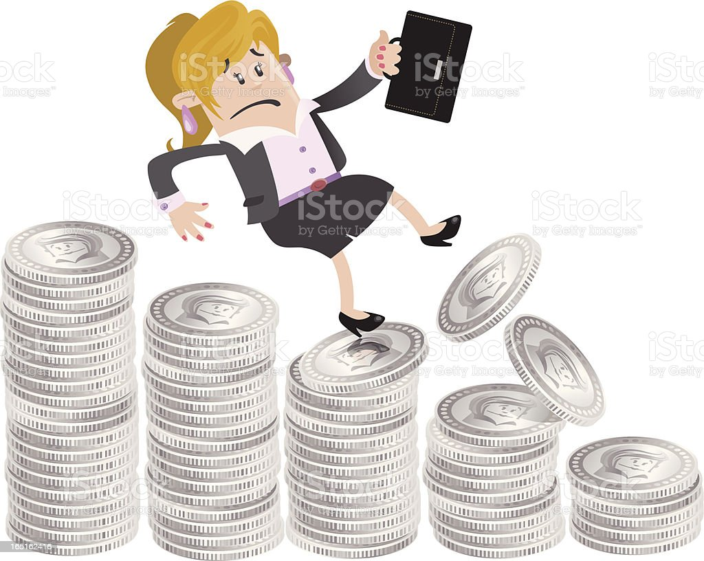 Businesswoman Buddy falls down the money hill royalty-free stock vector art