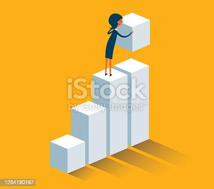 istock businesswoman building steps 1254190167