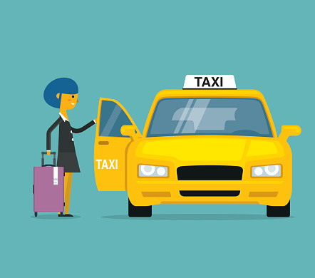 Businesswoman calling for a taxi