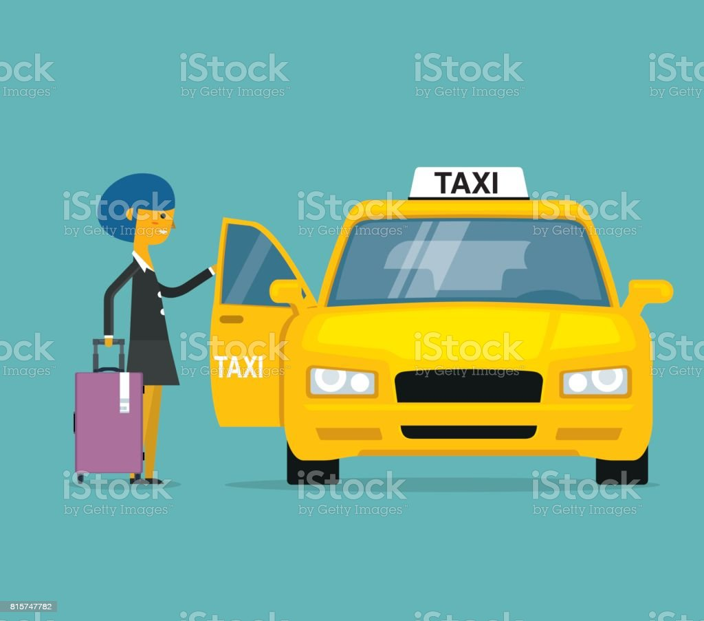 Businesswoman calling for a taxi vector art illustration