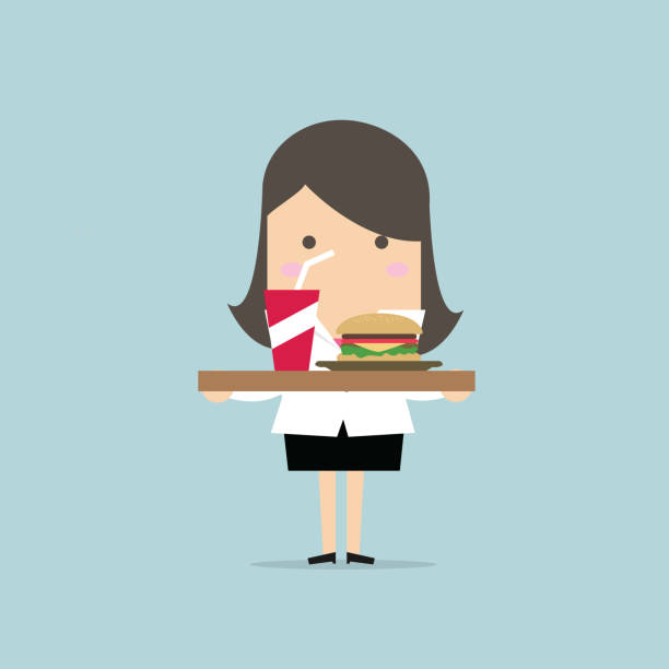 businesswoman carrying a tray of food. vector - food delivery stock illustrations