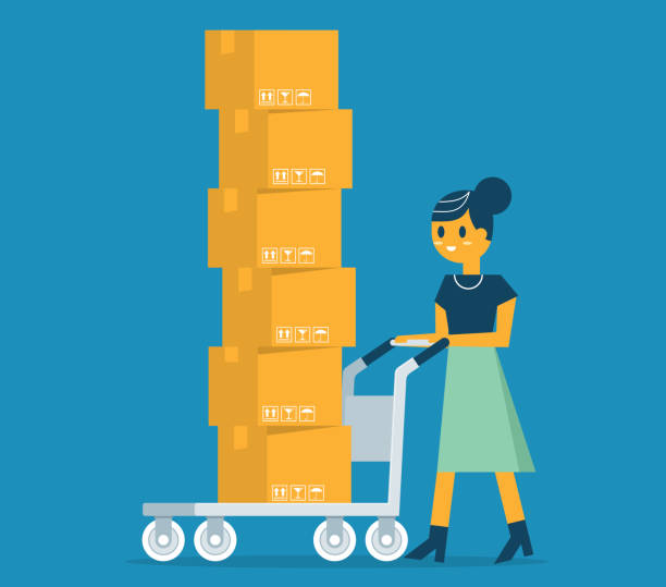 Businesswoman carrying cardboard boxes vector art illustration
