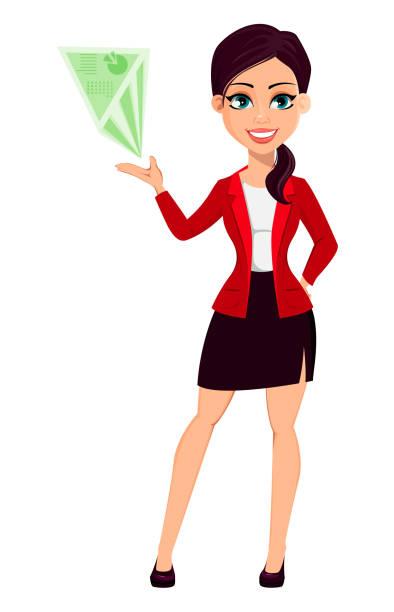 ilustrações de stock, clip art, desenhos animados e ícones de businesswoman cartoon character. beautiful woman - business woman hologram