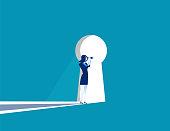 Businesswoman cautious looking out form through large lit up keyhole. Concept business vector illustration.
