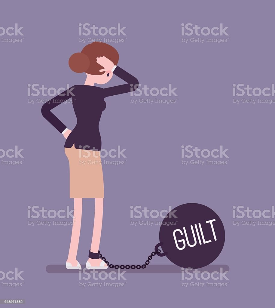 Businesswoman chained with a giant metall weight Guilt vector art illustration