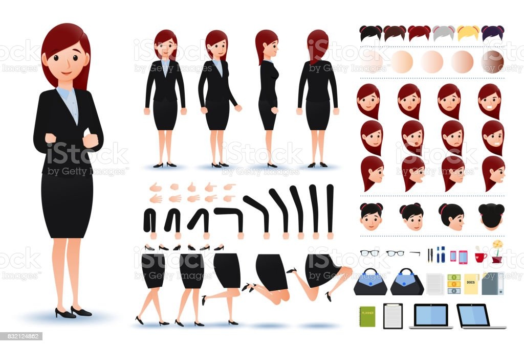 Businesswoman Character Creation Kit Template with Facial Expressions vector art illustration
