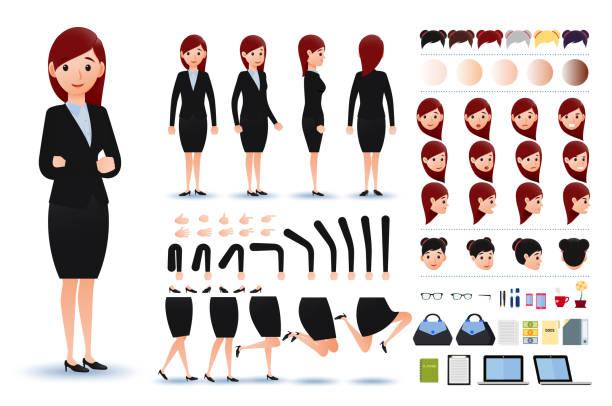 ilustraciones, imágenes clip art, dibujos animados e iconos de stock de carácter de empresaria kit creación plantilla con expresiones faciales - ejecutiva
