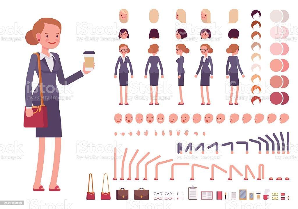 Businesswoman character creation set vector art illustration