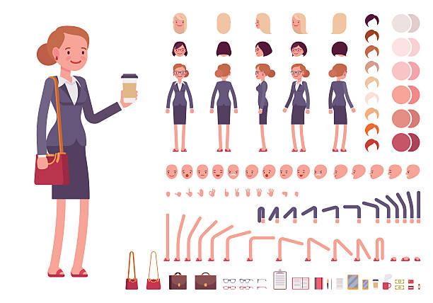 Businesswoman character creation set - Illustration vectorielle