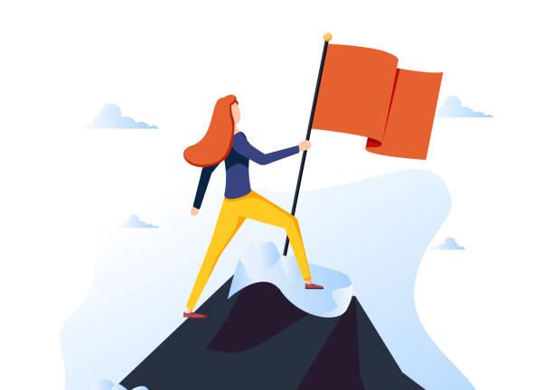 ilustraciones, imágenes clip art, dibujos animados e iconos de stock de personaje de la empresaria izó la bandera roja en la cima de la montaña. mujer de negocios en pico de éxito. liderazgo, ganador - mountain top