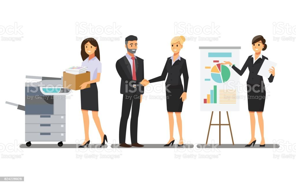 Businesswoman character In the office set  ,Vector illustration