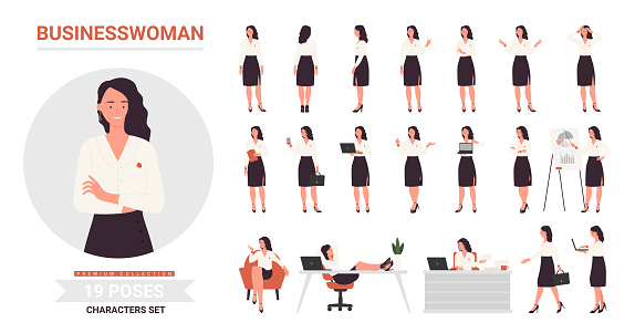 Businesswoman character poses set, front side and back view of office worker woman