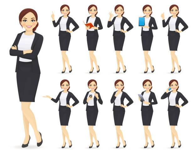 illustrazioni stock, clip art, cartoni animati e icone di tendenza di businesswoman character set - business woman