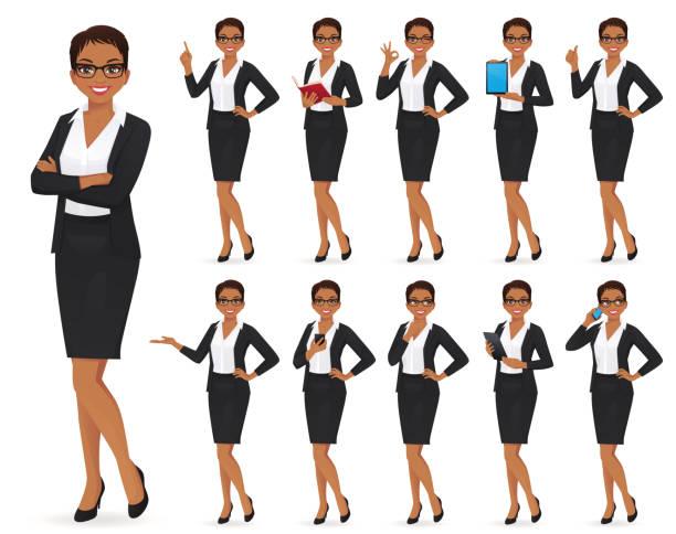 zestaw znaków businesswoman - grupa przedmiotów stock illustrations