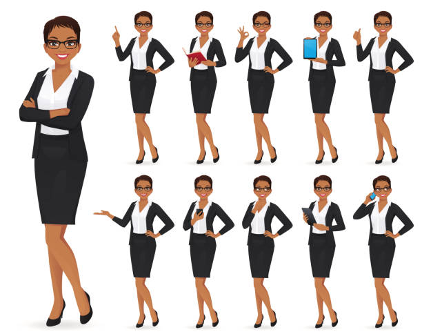 Businesswoman character set Businesswoman character in different poses set vector illustration group of objects stock illustrations