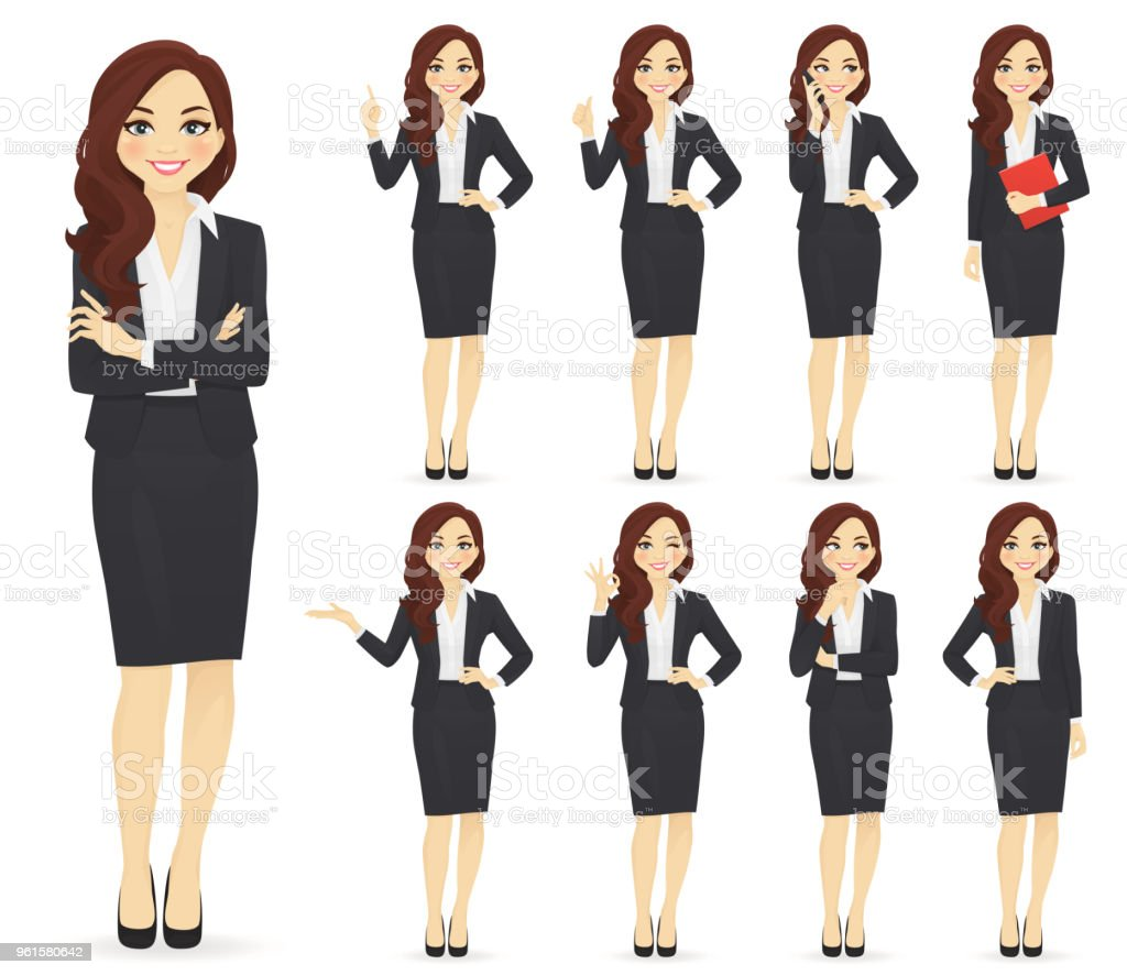 Businesswoman character set vector art illustration